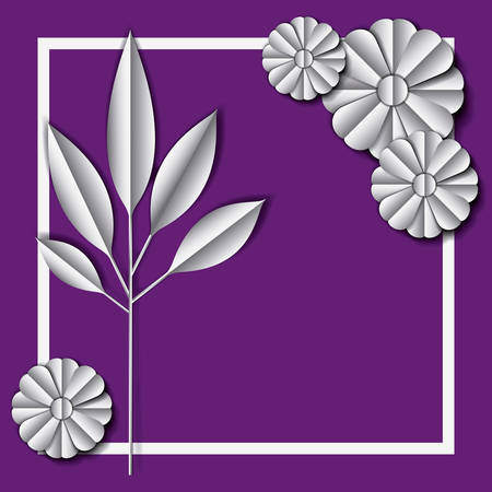 Flower and leaves frame decoration vector illustration design.