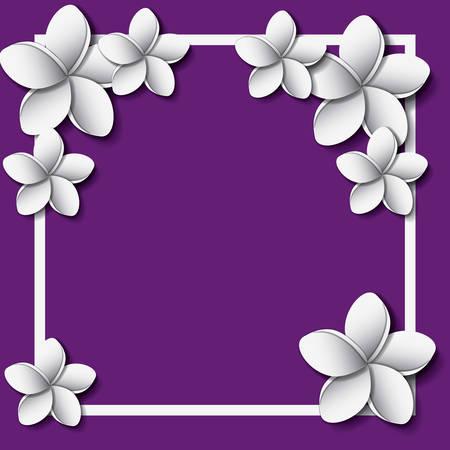 Flower and leaves frame decoration vector illustration design