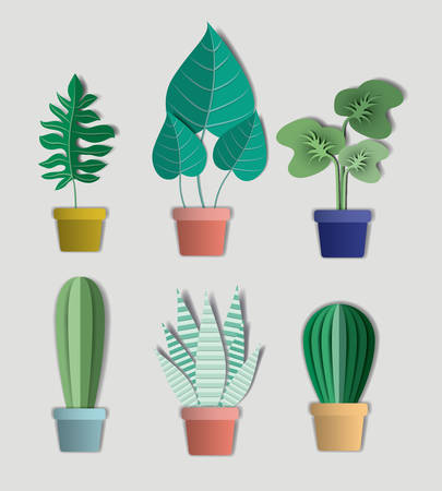 house plants set icons vector illustration design
