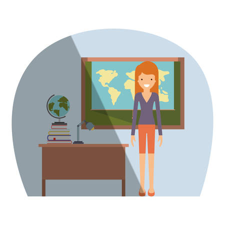 female teacher in geography class with pile books vector illustration design