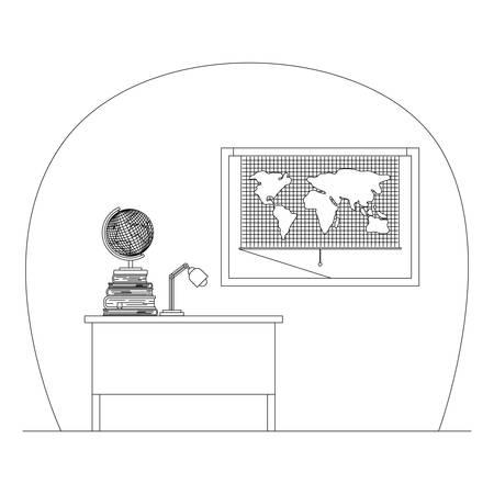 geography class room scene icon vector illustration design  イラスト・ベクター素材