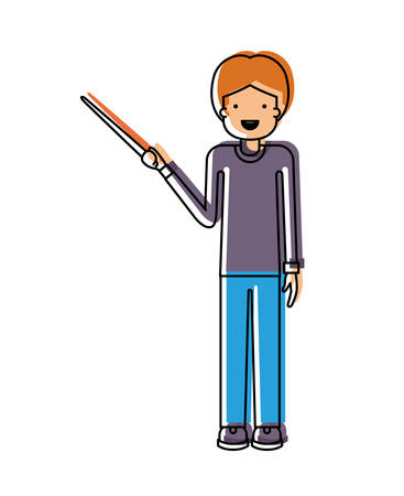 male teacher with pointing stick vector illustration design