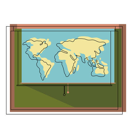 World map roller in chalkboard vector illustration design