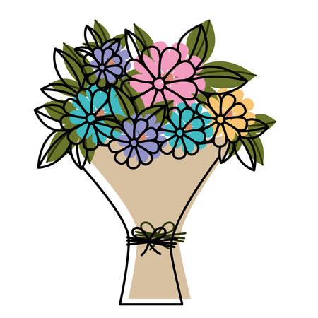 bouquet of flowers icon vector illustration design  イラスト・ベクター素材