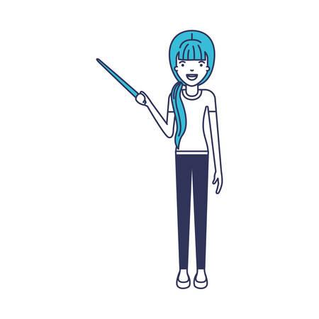 female teacher with pointing stick vector illustration design