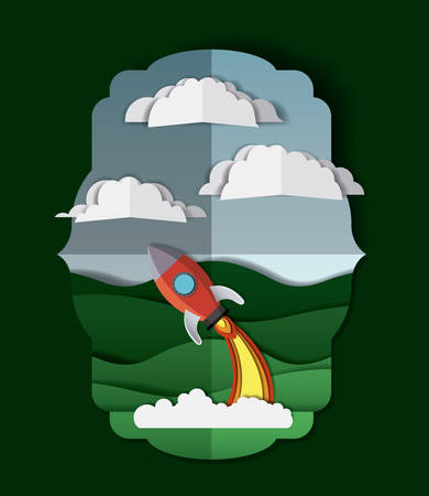 Landscape with rocket launcher  illustration design