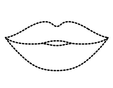 Female lips outline illustration