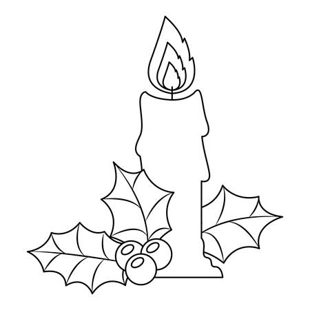 A christmas candle with leaves vector illustration design