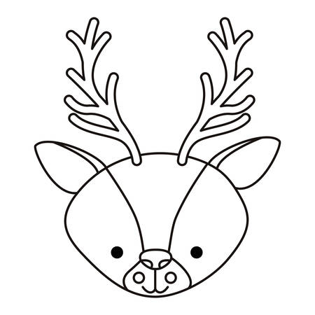 A cute reindeer's head woodland character vector illustration design