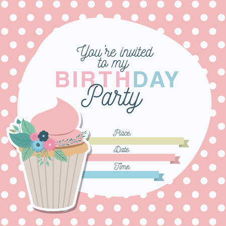 happy birthday party invitation with floral decoration and cupcake vector illustration