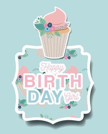 Happy birthday card with floral decoration and cupcake vector illustration design.