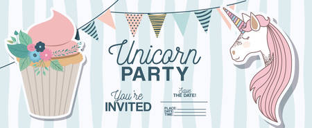Unicorn party invitation card with floral decoration and cupcake. Vector illustration design.