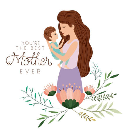 Happy Mothers day lifting a son. Vector illustration design.
