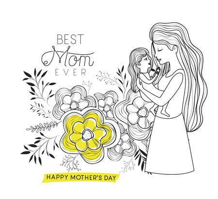 happy mothers day sketch with mother lifting a daughter vector illustration design Illustration