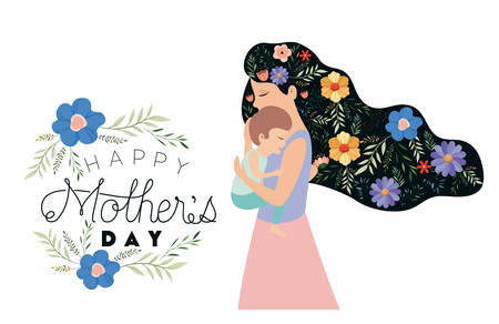 happy mothers day lifting a son vector illustration design