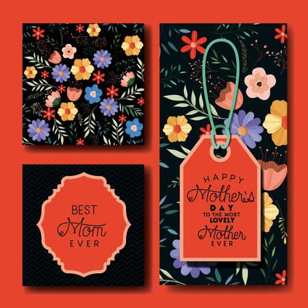 mothers day hand made font postcards set vector illustration design Stock Illustratie