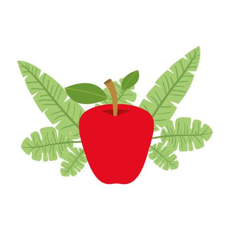 Apple fresh fruit with leafs frame. Vector illustration design.
