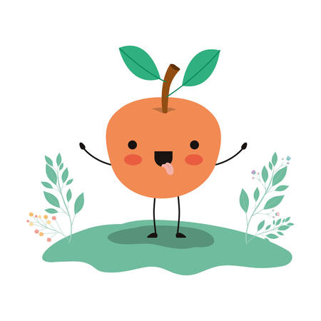 orange in the field fresh and citrus fruit vector illustration design Illustration