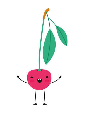 cherries fresh fruit kawaii character vector illustration design