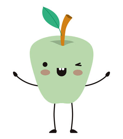 apple comic character fresh fruit icon vector illustration design Illustration