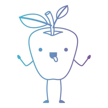Apple comic character fresh fruit icon vector illustration design