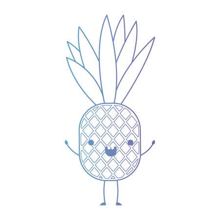 Ananas Frisches Obst Kawaii Charakter Vektor Illustration Design