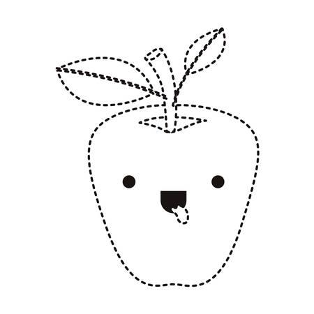apple comic character fresh fruit icon vector illustration design 일러스트