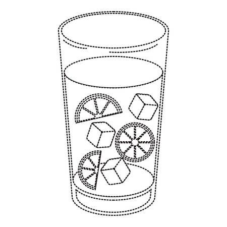 fresh citrus juice with ice cubes vector illustration design Vettoriali