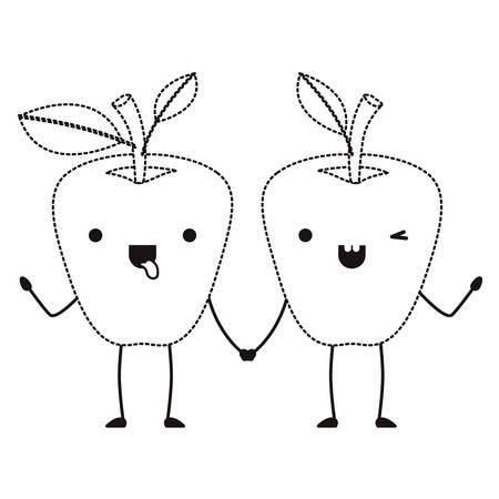 apples couple comic characters fresh fruit icon vector illustration design 일러스트
