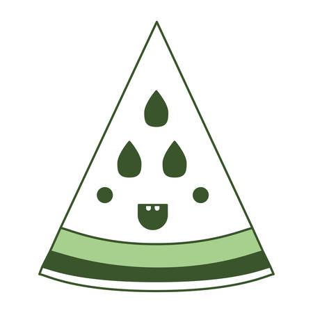 Watermelon fresh fruit slice character vector illustration design Vettoriali