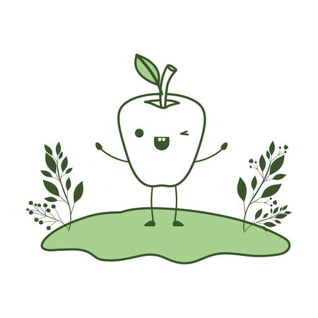 apple in the field comic character fresh fruit icon vector illustration design