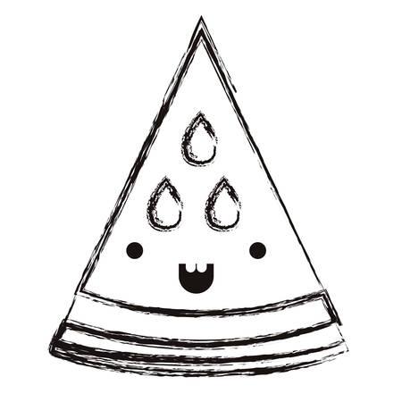 watermelon fresh fruit slice character vector illustration design