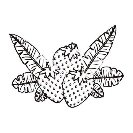 strawberries fresh fruit with leafs frame vector illustration design Illustration