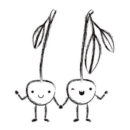 cherries couple fresh fruit kawaii character vector illustration design