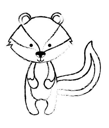 cute skunk woodland character vector illustration design