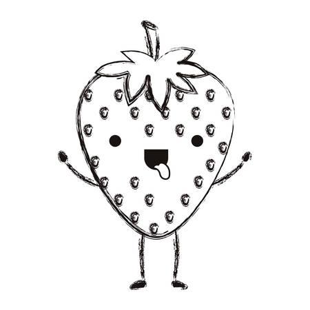 strawberries fresh fruit character vector illustration design