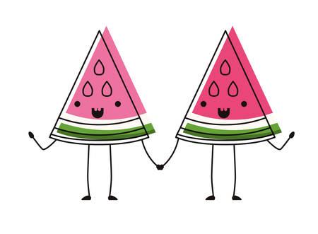 watermelon fresh fruit slice couple characters vector illustration design