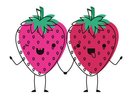 strawberries fresh fruit couple characters vector illustration design  イラスト・ベクター素材