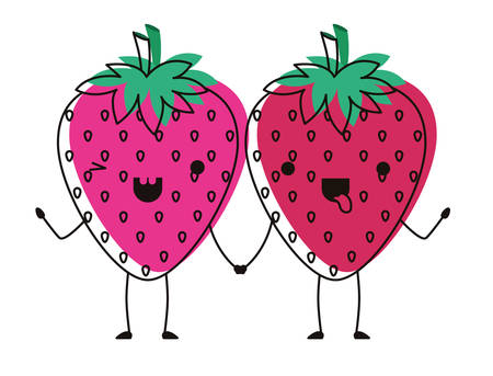 strawberries fresh fruit couple characters vector illustration design Illustration