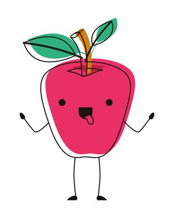 apple comic character fresh fruit icon vector illustration design Ilustracja