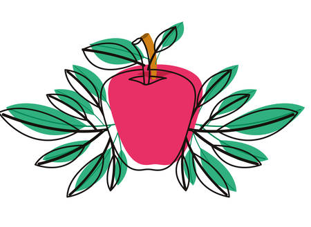 Apple fresh fruit with leaves frame vector illustration design.