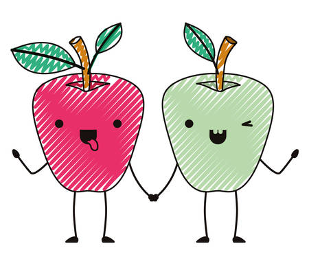 Apples couple comic characters fresh fruit icon vector illustration design.