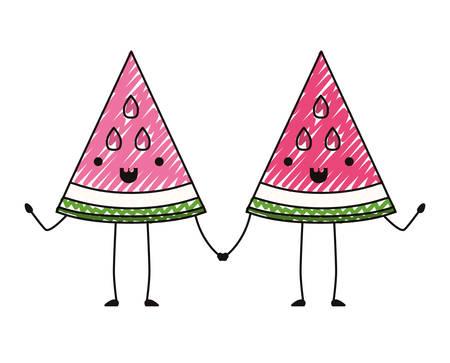 Watermelon fresh fruit slice couple characters vector illustration design.