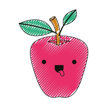 Apple comic character fresh fruit icon vector illustration design. 일러스트