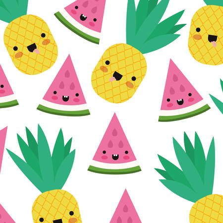 watermelon fresh fruit slice with leafs pattern vector illustration design