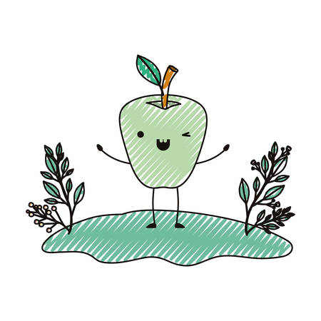 Apple in the field comic character fresh fruit icon vector illustration design.