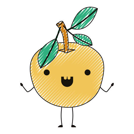 Orange fresh and citrus fruit character vector illustration design.