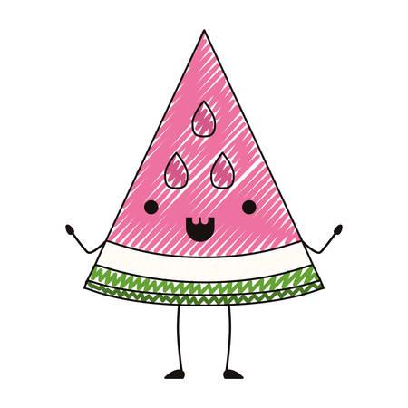 watermelon fresh fruit slice  character vector illustration design Illustration