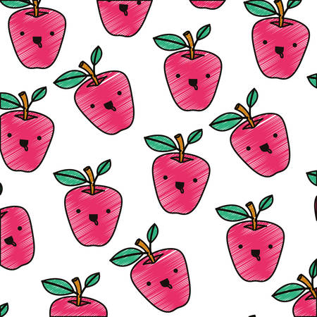 Apple comic characters pattern background vector illustration design.