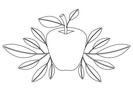 Apple fresh fruit with leafs frame vector illustration design.
